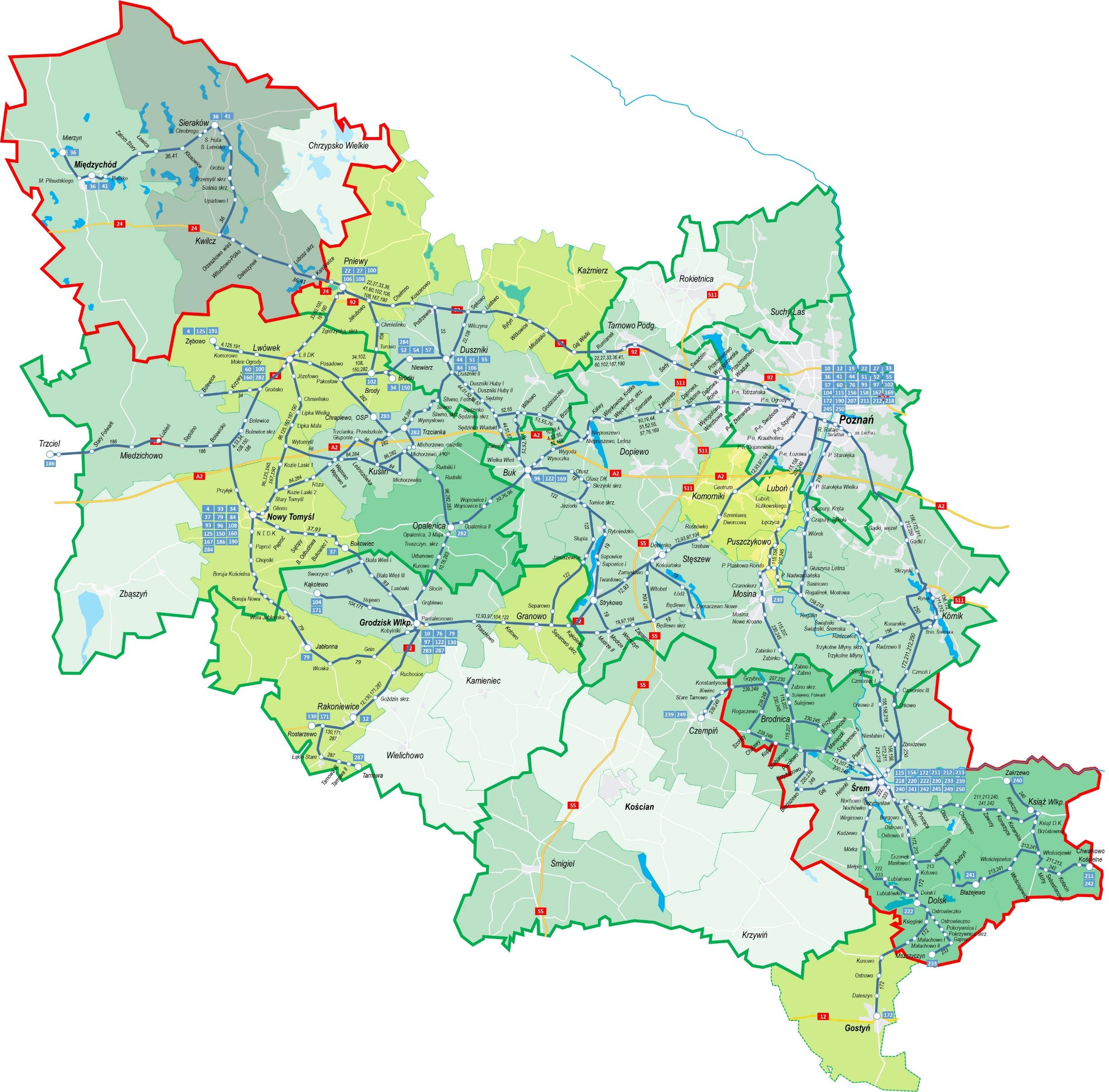 Mapa sieci połączeń PKS POZNAŃ na dzień 30.06.2021